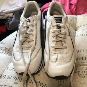 Puma white leather with blue details size 8.5